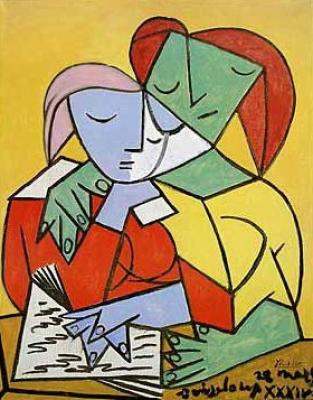 pablo picasso two girls reading